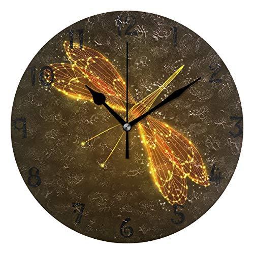 LDIYEU Arte Libélula Dorada Reloj de Pared Silencioso Decorativo Madera Vintage Relojs para Niños Niñas Cocina Dormitorio Hogar Oficina Escuela Decoración