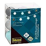Catena luminosa a LED con 16 sfere di cotone, luce bianca calda, funzionamento a batteria, con timer da 6 ore, per interni, ca. 1,8 m, per feste, Natale, decorazioni, matrimoni, come luce d'atmosfera