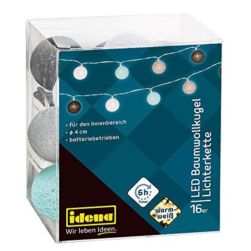 Idena 31020 - LED Lichterkette mit 16 LED Baumwollkugeln, warmweiß, batteriebetrieben, mit 6 Stunden Timer Funktion, ca. 1,8 m lang, zum Basteln und Dekorieren, für Partys, Hochzeit