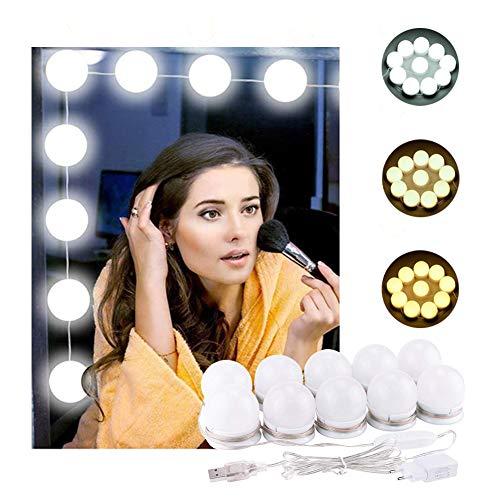 Lumière de Miroir, K KUMEED 10 Ampoules Hollywood Kit de Lumière LED Dimmable Lampe pour Miroir Cosmétique Salle de Bain 3 Couleurs 10 Niveaux de Luminosité avec Adaptateur (Miroir Non Inclus)
