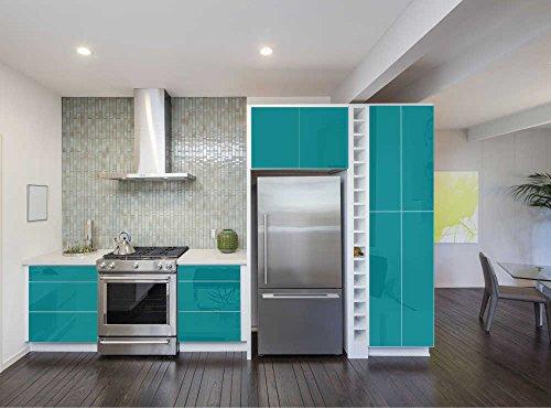Aufkleber für Küchenschränke 63x500cm GLANZ - Folie aus hochwertigem PVC Tapeten Küche Klebefolie Möbel wasserfest für Schränke selbstklebende Folie Küchenfolie Dekofolie - Türkisblau