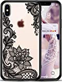 VIROMO iPhone Lace Case for Girls, Womens - Frosted Clear & Slim Fit, Cute Black Flowers Design, Thin, Hard Plastic Cover, Protective Rubber Bumper, Wireless Charging Compatible iPhone - X/XS