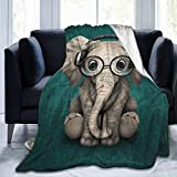 Delerain Cartoon Elephant with Glasses Soft Throw Blanket 40'x50' Lightweight Flannel Fleece Blanket for Couch Bed Sofa Travelling Camping for Kids Adults