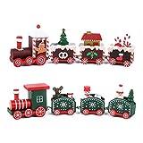 FLOFIA 2pcs Pequeño Tren Navideño de Madera con 4 Vagónes Variados 4.5 * 20cm Mini Tren Madera de Navidad Adorno de Navidad para Decoración Regalos Navideños Jardín Escaparate