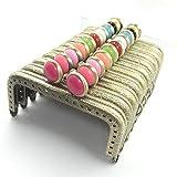 がま口 アンティーク 風 マーブルチョコ 風 パーツ くし型 口金 セット 10色 選べる 材料 手芸材料 ハンドメイド (アンティークゴールド角型マーブルチョコ8.5cm10色10個)