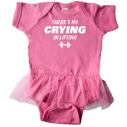 inktastic No Crying in Lifting Infant Tutu Bodysuit Newborn Raspberry