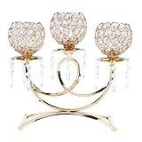 SM SunniMix Kristall Windlicht Teelichthalter Kerzenhalter Tischdeko Hochzeitsdeko - Gold