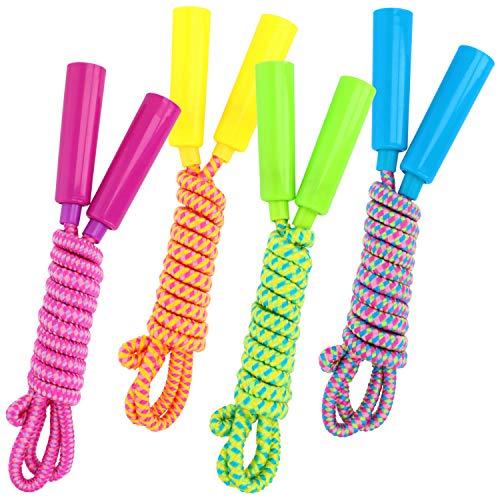 com-four® 4X Springseil für Kinder - 210 cm, Länge verstellbar - Sprungseil in bunten Farben [Auswahl variiert] (04 Stück - Farbmix)