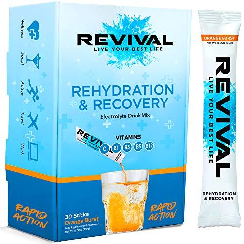 Revival Rapid Rehydration, Electrolytes Powder - High Strength Vitamin C, B1, B3, B5, B12 Supplement Sachet Drink, Effervescent Electrolyte Hydration Tablets - 30 Pack Orange