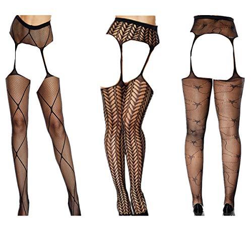 HNJZX Damen Netzstrumpfhose / Strapsstrümpfe, Übergröße, Sexy Dessous, durchsichtige Spitze, 3er-Pack, D