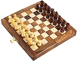 Handcrafted Wooden Folding Magnetic Chess Set - Wood Travel Games - 7