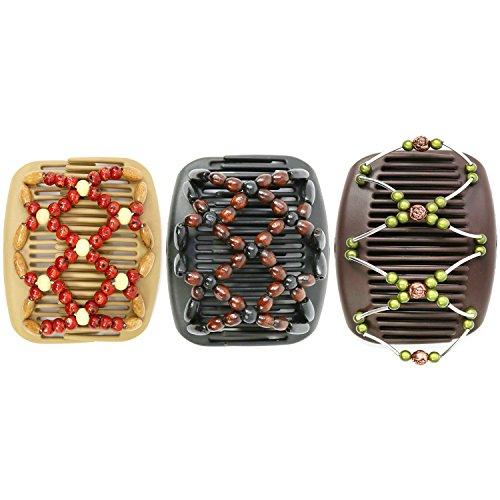 com-four® African Butterfly - Afrikanische Haarklammer Haarspange Haarkamm (3er Set- Schwarz/Beige/Braun)