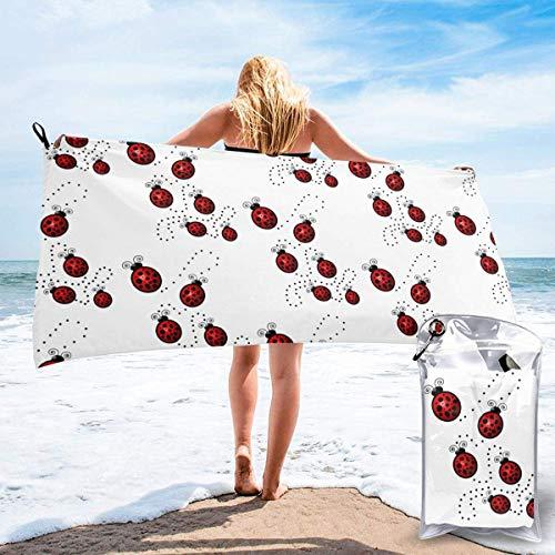Beach Towels Art Ladybug Tracks Toalla ligera de secado rápido Toalla súper absorbente sin arena para viajes, natación, gimnasio, yoga 140X70CM