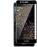 REY Protector de Pantalla Curvo para Huawei P10 Lite, Negro, Cristal Vidrio Templado Premium, 3D / 4D / 5D