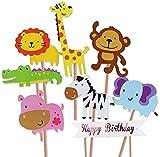 Decoración de pasteles,Decoración de cupcakes, fiesta de cumpleaños, fiesta de cumpleaños, suministros de decoración de tartas, león, hipopótamo, mono, elefante, cebra, jirafa, cocodrilo