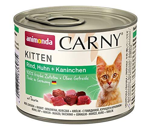animonda Carny Kitten cibo per gatti, alimento umido per gatti fino ad 1 anno, manzo, pollo + coniglio, 6 x 200 g