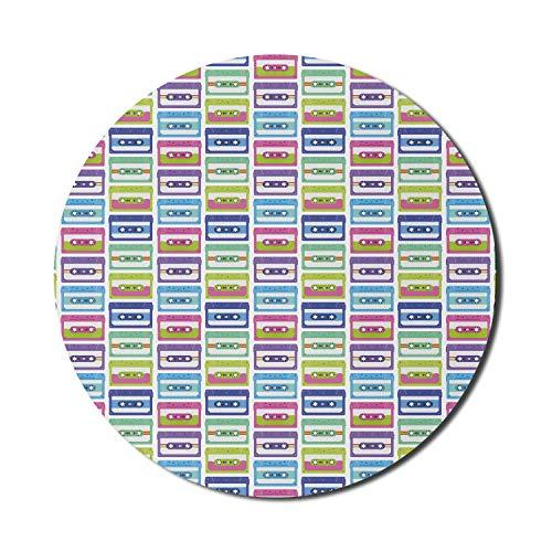 Alfombrilla para mouse Disco para computadoras, ilustración repetida de cintas de audio coloridas de estilo retro sobre un fondo liso, alfombrilla redonda antideslizante de goma gruesa para juegos mod