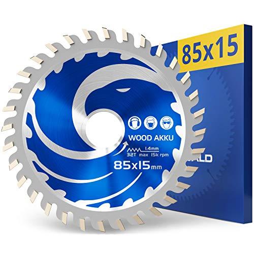 FALKENWALD Akku Sägeblatt 85x15 ideal für Holz - Kompatibel mit Bosch GKS 12v-26, Bosch GKS 85, Makita Mini Handkreissäge, Kompatibel mit Bosch Kreissägeblatt 85x15 - Sägeblatt 85mm