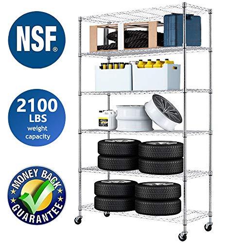 Wire Shelving Unit NSF Heavy Duty Office Basement Kitchen Adjustable Metal Storage Shelves Rack with Wheels 48'x18'x82' 6 Tier Shelf Commercial Grade Utility Garage Shelving Unit
