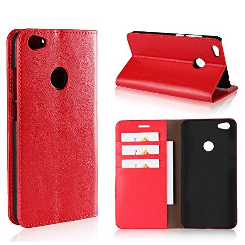 Copmob Funda Xiaomi Redmi Note 5A,Premium Flip Billetera Funda de Cuero,[Función de Soporte][3 Ranura para Tarjeta][TPU a Prueba de Golpes],Carcasa Xiaomi Redmi Note 5A - Rojo