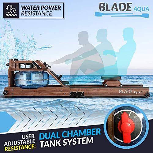Bluefin Fitness Blade Aqua W-1 | Wasserbeständiges Rudergerät | 100% nachhaltiges amerikanisches Eschenholz Klappbare Heimfitnessgeräte | LCD-Konsole Herzfrequenzmonitor | Kinomap App-Integration