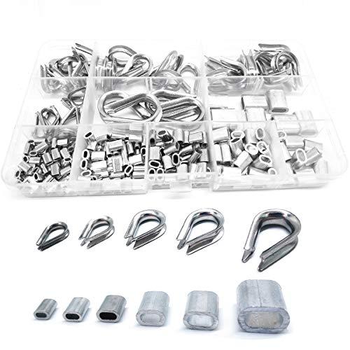 QISF 250 Stück Edelstahl Drahtseilhülsen Kabel Fingerhüte Set + Aluminium Crimpschlinge Hülsen Kit für Drahtseil Kabel