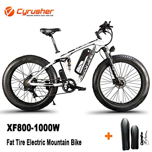 Cyrusher XF800 1000W Electric Mountain Bike 26inch Fat Tire e-Bike Shimano 7 Speeds Beach Cruiser Mens Sports Mountain Bike Full Suspension,Lithium Battery Hydraulic Disc Brakes(White)