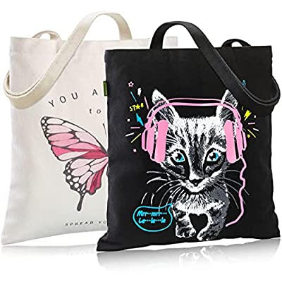 2-Pack Canvas Tote Bag for Women with Interior ...