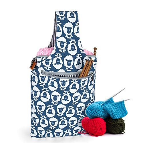 Teamoy Knitting Bag, Travel Canvas Yarn Tote Bag for Knitting Needles, Yarn and Crochet Supplies, Multipurpose, Perfect Size for Knitting on The Go, Sheep