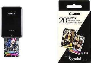 Canon Zoemini Mini Fotodrucker (Mini Fotodrucker, Bluetooth, 5 x 7,5cm Fotos, Akku, Zink Druck tintenfrei, 160 g, 314 x 400 DPI), schwarz & 3214C002 Zink Papier ZP 2030, 20 Blatt für Zoemini