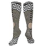 Calcetines para mujer, diseño de trastes y ondas en fondo oscuro antiguo retro remolinos para mujeres y hombres, ideal para correr, atletismo, senderismo, viajes, vuelo