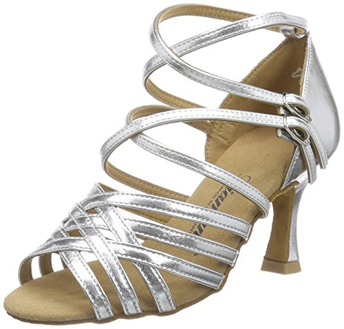 Diamant Damen Latein Tanzschuhe 108-087-013 Standard & Latein, Silber Silber, 42 2/3