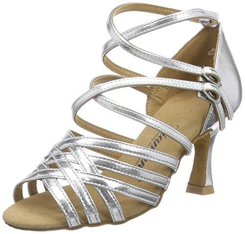 Diamant Damen Latein Tanzschuhe 108-087-013 Standard & Latein, Silber, 34 2/3 EU