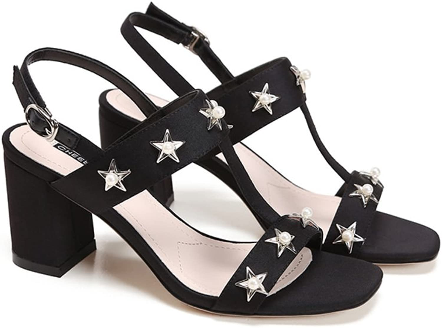 Thick With Wild Fashion Sandals Sexy Peep-toe Buckle Heel Sandals-Black Foot length=22.3CM(8.8Inch)