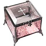 Baptism Gift for Girls Personalized Keepsake Box Pink Stained Glass Engraved Cross Jewelry J Devlin Box 903 EB222 (Pink)