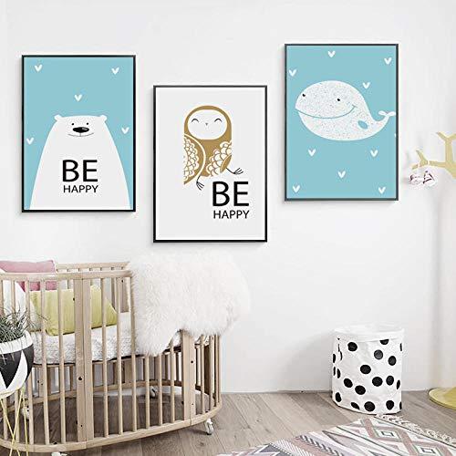 Eenvoudige en mooie vrolijke cartoon dieren canvas schilderij print kunst aan de muur foto posters en prints voor woonkamer interieur-40x60cmx3 stuks (geen frame)