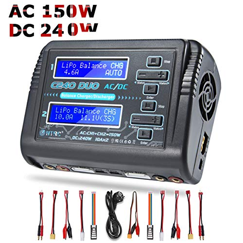 Lipo Ladegerät Entlader für LiPo LiHV LiFe NiCd NiMh NiMh Pb Smart Batterie C240 DUO AC 150W / DC 240W 10A Schwarz