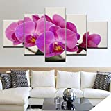 BYSQX 5 Pieces Wall Art Modular DIY Orchid Flower Painting Plants Home Kitchen Posters Prints Picture Print On Canvas Canvas Print Modular Painting Poster Wall Stickers Murals Canvas Pain 200X100CM
