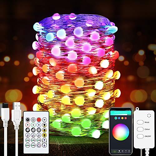 Smart Led Guirnalda Luces - 32.8 pies Cadena de Luces con control remoto, luces de compatibles con Google Home Alexa, para interiores y exteriores