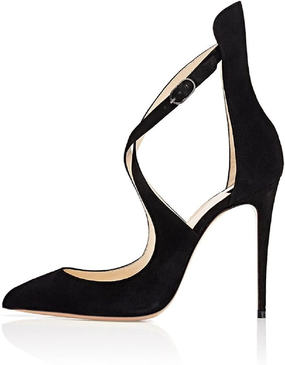 Sammitop Women's Pointed Toe Stiletto High Heels Crisscross Strappy Pumps Ladies Ankle Buckle Strap shoes
