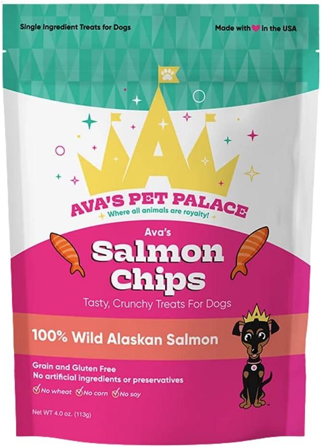 Quantity limited Ava's Salmon Chips Crunchy Dog Tulsa Mall Alaskan Wild Treats 100% Salm