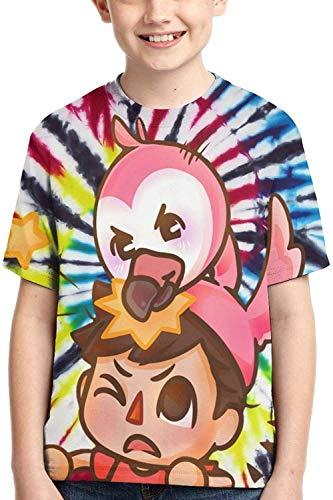 XCNGG Niños Tops Camisetas Albertsstuff+Flamingo T-Shirt Boys,Kids Girls Short Sleeve,3D Printed Sports Short Sleeve Novelty Round Neck Top