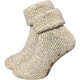 GAWILO 1 Paar Damen Stoppersocken – ABS Socken – Wollsocken – ohne drückende Naht – kuschelige Innenfrottee – ideal bei kalten Füßen (35-38, beige melange)