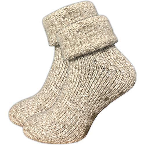 GAWILO 1 Paar Damen Stoppersocken – ABS Socken – Wollsocken – ohne drückende Naht – kuschelige Innenfrottee – ideal bei kalten Füßen (39-42, beige melange)