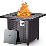TACKLIFE 2021New 31.2in Propane Gas Fire Table, 50,000 BTU, Sturdy Steel and Iron Grill Square Table Fireplace, Lava Stone & Fire Pit Cover, Ideal for Outdoor Campaign, Patio & Garden