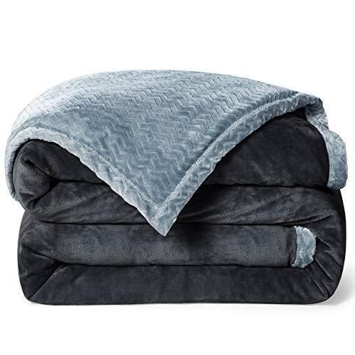 RATEL Mantas para Sofa Gris Oscuro + Gris 220×240cm, Mantas para Cama Mejorada 420GSM, Manta de Microfibra 100% Supersuave - Fácil De Cuidar- Ligera, Cálida, Cómoda Y Duradera
