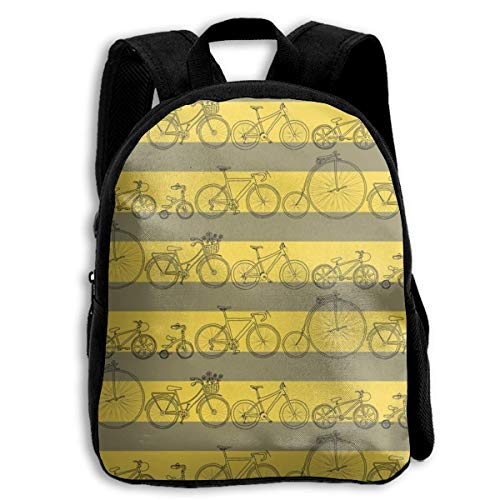 XaMiner Sac à Dos Les vélos veulent Monter Mes Sacs à Dos d'école de Rayure de Bicyclette pour Les Enfants Sac à Dos préscolaire de 13 'avec Bretelles réglables