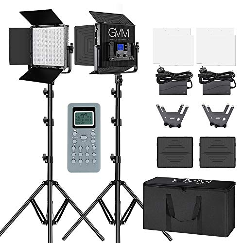 GVM LED Videoleuchten mit Lichtstativ Kit, Fernbedienung 672 LED, LED Video Lights, Bi-Color Videoleuchte 3200K-5600K für YouTube Studio Fotografie, Filmaufnahmen und Kameralicht