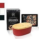Dolce Mare® Panera - Caja para Pan de Madera - Paneras para Guardar el Pan - con Tabla de bambú Extremadamente práctica para Cortar - Cesto para Pan - Regalo Ideal (Rojo)