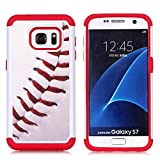 Galaxy S7 Case, S7 Case, Baseball Sports Pattern Shock-Absorption Hard PC and Inner Silicone Hybrid Dual Layer Armor Defender Protective Case Cover for Samsung Galaxy S7